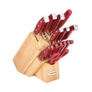 Farberware Pro 11   Set de cuchillos, hierro forjado, 15 piezas, rojo