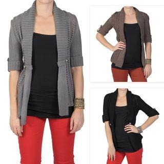 Journee Collection Juniors Half sleeve Open Front Cardigan