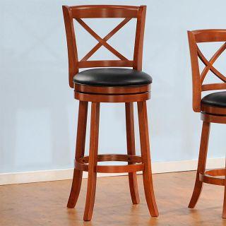 Verona Red Oak Cross Back Swivel 29 inches Pub Chair