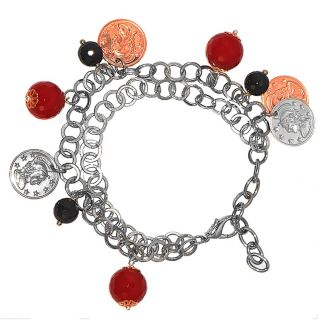 Adee Waiss 14k Gold over Seel Red and Black Agae Coin Charm Bracele