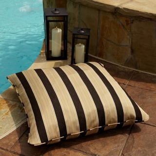 Clara Gold/ Brown Stripe 28 inch Square Outdoor Sunbrella Floor Pillow