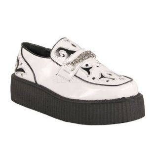 Veggie Faux Leather Creeper Shoe White/Black Faux Leather Shoes