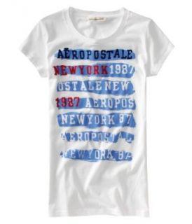 Aeropostale Juniors Graphic Tee T Shirt   Blue Bleach