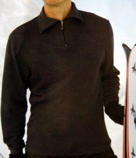 Charcoal Heather Mens Ski Zipper Turtleneck Jersey Shirt