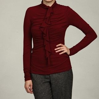 Thea by Chelsea & Theodore Womens Ruffle Front Top