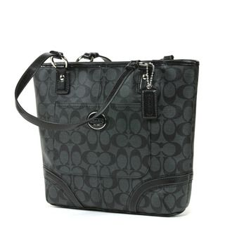 Coach Peyton Black and Grey Signature Printed Tote Bag