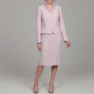 John Meyer Womens Lavender Bead Embellished Skirt Suit