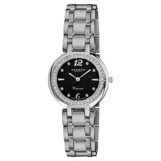 Akribos XXIV Womens Stainless Steel Diamond Bracelet Watch
