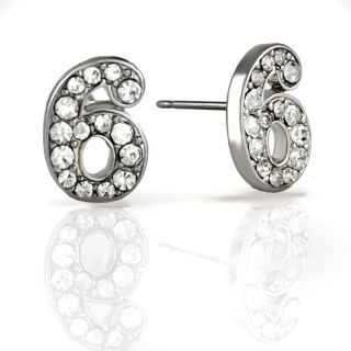 Silverplated The Number 6 Rhinestone Stud Earrings