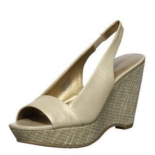 AK Anne Klein Womens Fortuna Gold Wedge Sandals