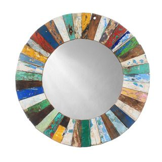 Ecologica Round Wood Mosaic Mirror
