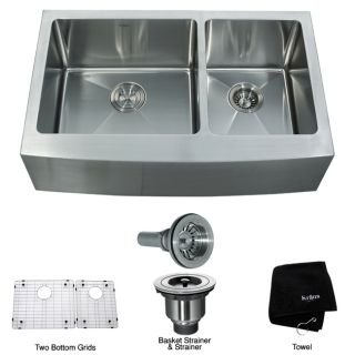 Kraus 33 inch Farmhouse Apron Double bowl Stainless Steel Kitchen Sink