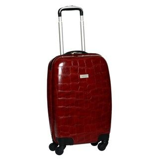 Ellen Tracy Burgundy Venezia Croco Embossed 20 inch Hardside Carry on