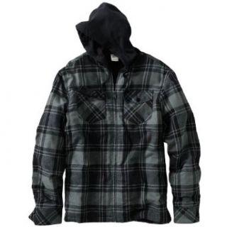 Hang Ten Plaid Hooded Flannel Jacket, Size Medium, Black