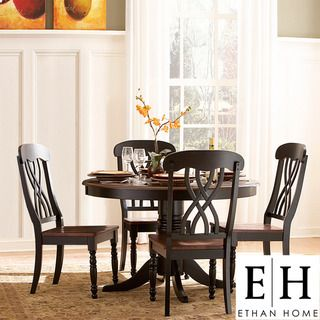 ETHAN HOME Mackenzie 5 piece Country Black Dining Set