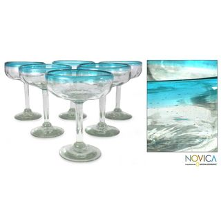 Set of 6 Blown Glass Aquamarine Margarita Glasses (Mexico