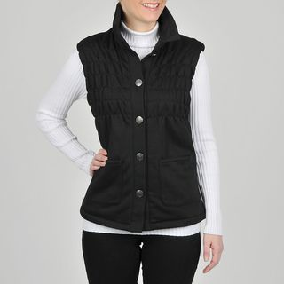Montanaco Womens Black Faux Fur Lined Ruched Vest