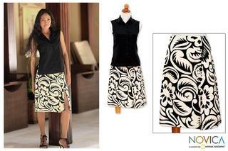 Cotton Balinese Shadow Batik Wraparound Skirt (Indonesia