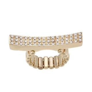 Goldtone Pave set Clear Crystal Elongated Bar Stretch Ring