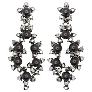 Kate Marie Silvertone Black Acrylic and Rhinestone Earrings