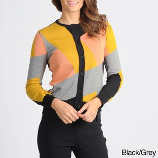 Yal New York Womens Patchwork Colorblock Cardigan