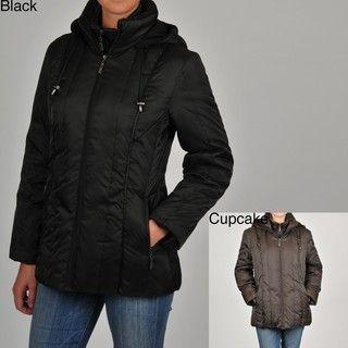 Nautica Womens Short Down blend Hooded Coat