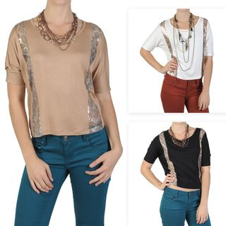 by Hailey Jeans Co. Womens Dolman Sleeve Sequin Accent Top