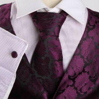Purple pattern Formal Vest for Men Gift Idea with Neck Tie
