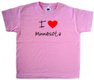 I Love Heart Minnesota Pink Kids T Shirt Clothing