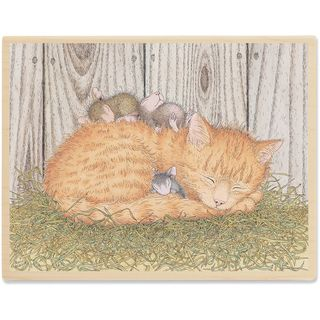 House Mouse Mounted Rubber Stamp 3.75X5 Cat Nap