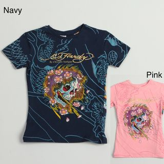 Ed Hardy Girls Skull and Flower T shirt