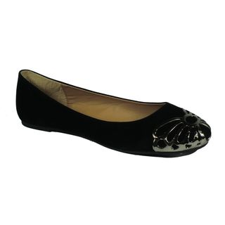 Betani by Beston Womens Betty Black Metal capped Ballet Flats