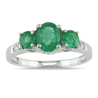 Miadora 14k White Gold Emerald and Diamond Accent 3 stone Ring