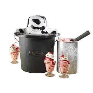 Nostalgia Electrics 4 quart Cow Black Ice Cream Maker