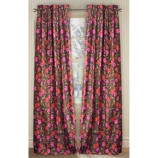 Cottage Home Silk Floral Print 96 inch Curtain Panel