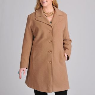 Larry Levine Womens Plus Wool blend Walking Coat
