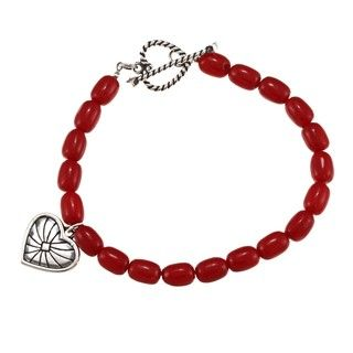 Southwest Moon Sterling Silver Red Coral Heart Bracelet