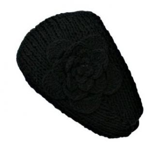 Black Hand Made Knit Headband With Flower Detail Clothing