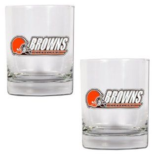 NFL Cleveland Browns Two Piece Rocks Glass Set Sports