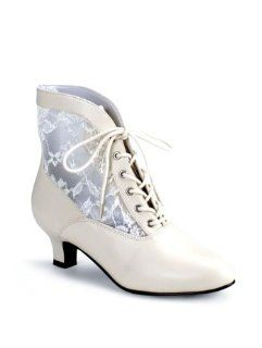 Ivory Lace Victorian Costume Ankle Boot   10 Shoes