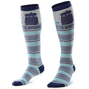 Who Knee Tardis Stripe Knee High Socks, Shoe size 4 10 Clothing