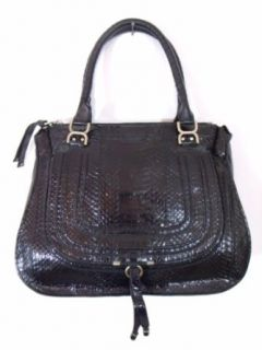 BESSO Black Snakeskin Luxury Italian Handbag Tote Bag