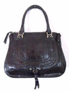 BESSO Black Snakeskin Luxury Italian Handbag Tote Bag