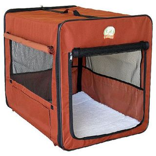 Brown 43 inch Portable Nylon Folding Soft Dog Crate with Mesh Door