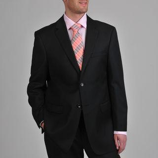 Prontomoda Europa Mens Super 140 Black Stretch Wool Suit