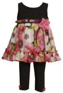 Bonnie Jean Girls 2 6x Knit Capri To Chiffon Top, Black