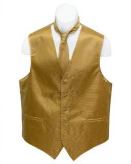 Mens Gold Color Horizontal Striped Jacquard Suit Vest and