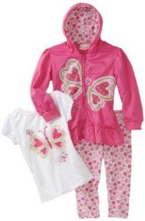 Nannette Girls 2 6X Butterfly Hoodie Set, Pink, 3T
