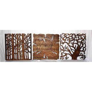 Set of 3 Wood 18 inch Tree Life Wall Panels (Thailand)