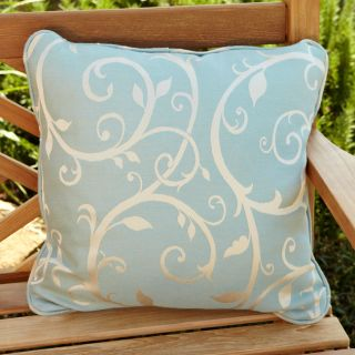 Clara Blue/ Beige Swirl 18 inch Square Outdoor Sunbrella Pillow (Set